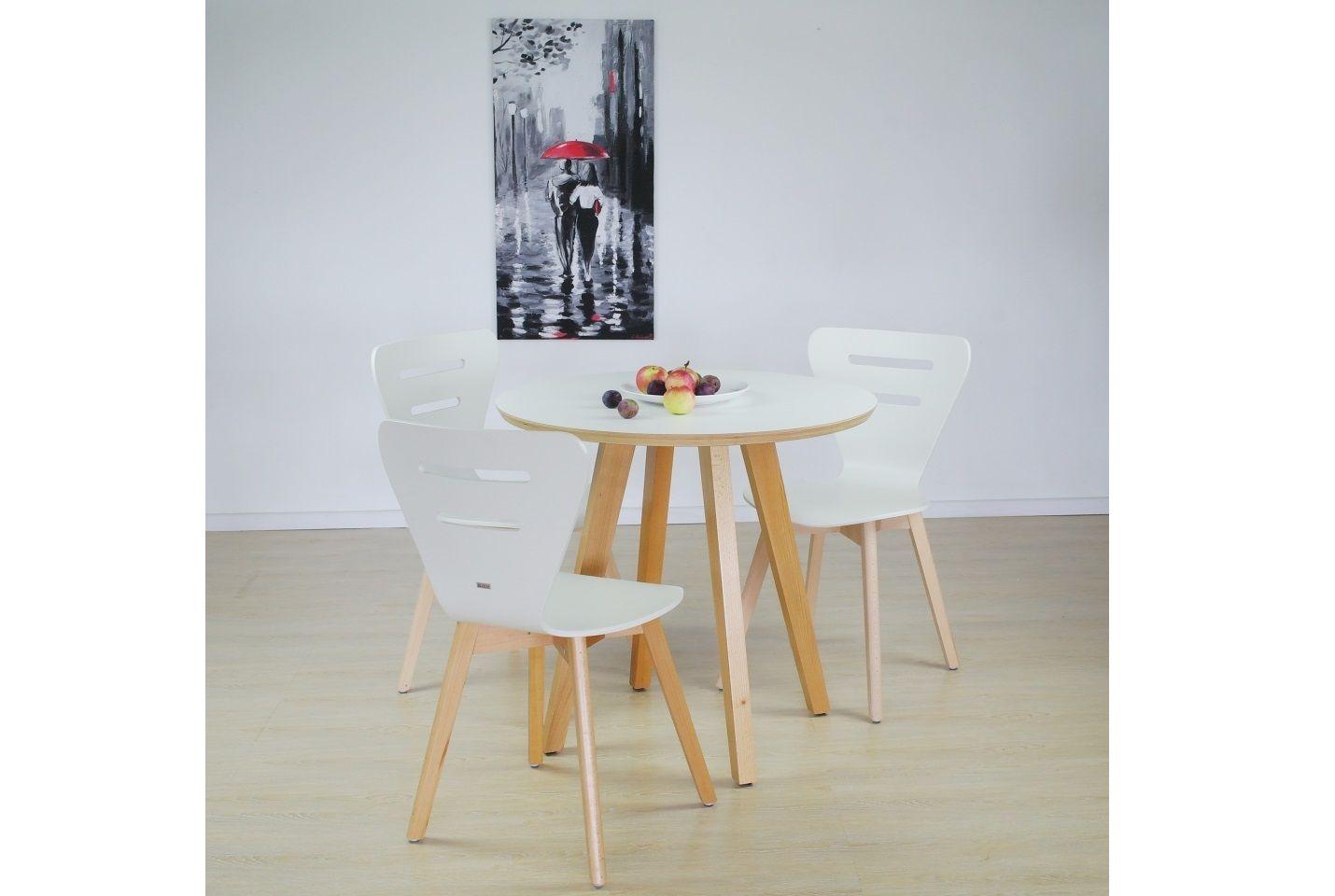 Stół Laminowany Okrągły Bukowe Nogi + DORIS W krzesło drewniane białe, bukowa rama