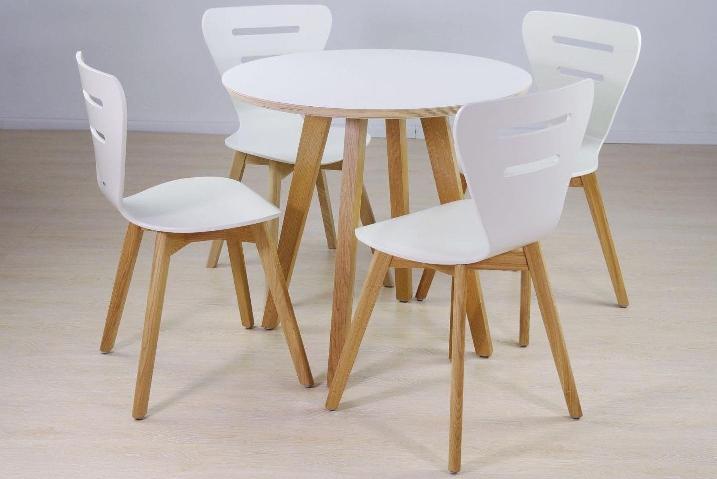Stół Laminowany Okrągły Dębowe Nogi Krzesło Doris W Drewniane